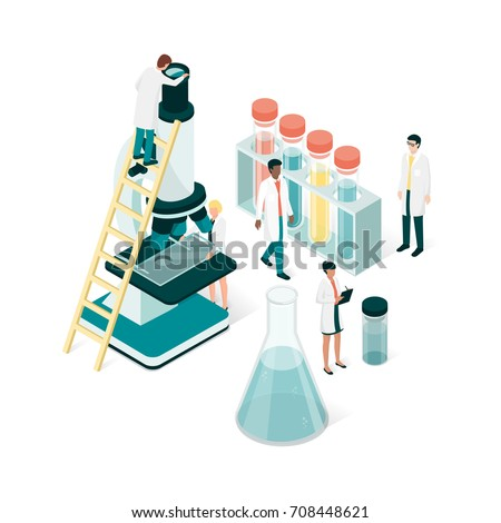 Researchers in the laboratory, they are analyzing a sample using a microscope and checking test tubes: science and medical research concept