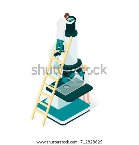 Researchers in the laboratory, they are analyzing a sample using a microscope: science and medical research concept