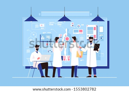 Researchers study of genetics in laboratory vector illustration. Men doctors discussing human organs on board, scientific working with laptop. People professionals researching healthy