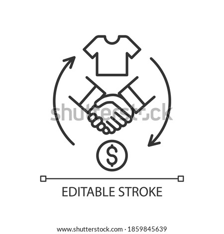 Reseller linear icon. Merchant. Products resolding. Purchasing goods from manufacturer. Thin line customizable illustration. Contour symbol. Vector isolated outline drawing. Editable stroke Photo stock ©