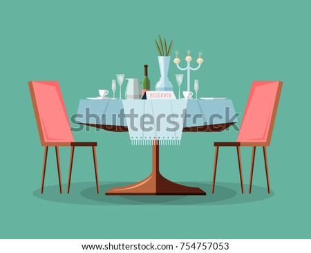 Reserved modern restaurant table with tablecloth, candles in candlestick, plant, wineglasses, reservation tabletop sign standing on it and two chairs. Bright colored cartoon vector illustration.