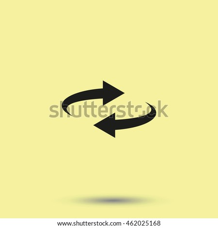 Reset button, reload arrows symbol. Flat illustration. #462025168