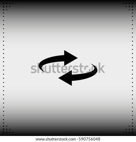 Reset button, reload arrows symbol. Flat illustration. #590756048