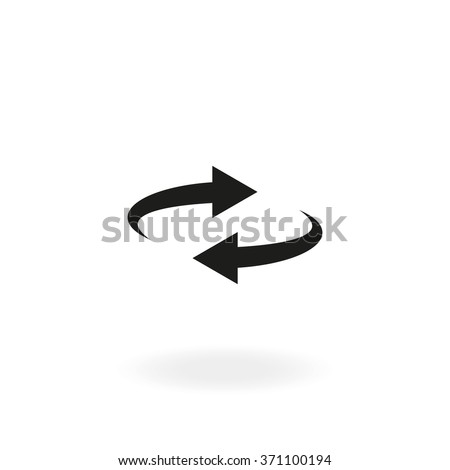 Reset button, reload arrows vector symbol. Flat spin illustration. Arrows rotate icon isolated on white background.