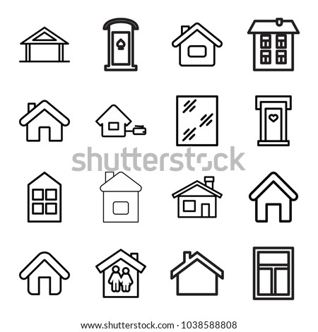 Residence icons. set of 16 editable outline residence icons such as home, house building, door with heart, window