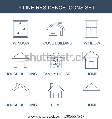 residence icons. Trendy 9 residence icons. Contain icons such as window, house building, family house, home. residence icon for web and mobile.