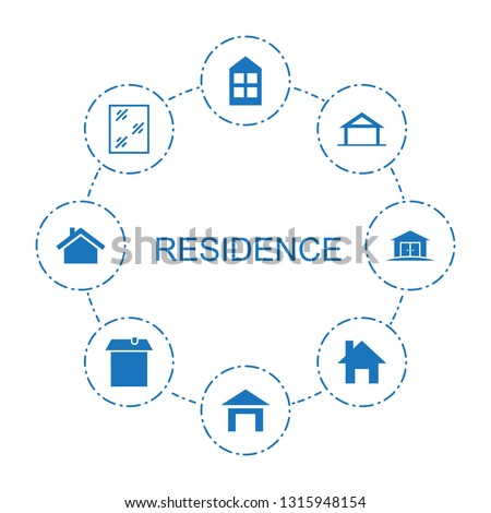 residence icons. Trendy 8 residence icons. Contain icons such as window, house building, home. residence icon for web and mobile.