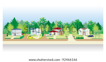 Residential area - stock vector
