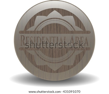 Residential Area realistic wooden emblem