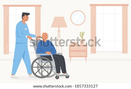 Residential care facility. A caretaker with old man on wheelchair. A bedroom in nursing home, retirement home. Scene of disabled elderly person with social worker at home. Concept of assisted living.