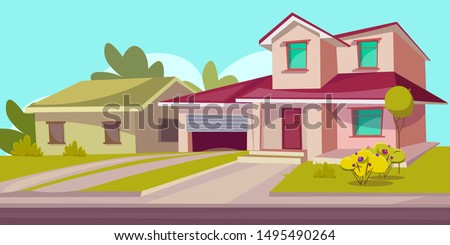 Residential house flat vector illustration. Real estate. Countryside building exterior. Two storey dwelling place with garage. Suburban home facade with garden and lawn. Cottage house leasing