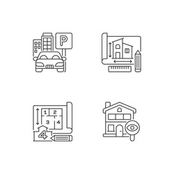 Residential house structure pixel perfect linear icons set. Parking lot. Engineering plan for building. Customizable thin line contour symbols. Isolated vector outline illustrations. Editable stroke