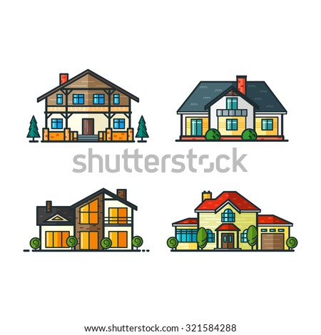 Residential houses icons in trending minimal flat style with lines. High-tech house and classic house, alpine house and modern style house. Trees separated. Set 1