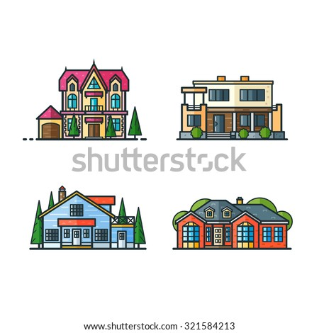 Residential houses icons in trending minimal flat style with lines. Modern house and gothic house, North American cottage and renaissance house. Trees separated. Set 2