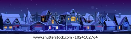 Residential houses with christmas decoration at night. Vector cartoon winter landscape with street in suburb district, cottages with snow on roofs and holiday garlands Foto stock ©