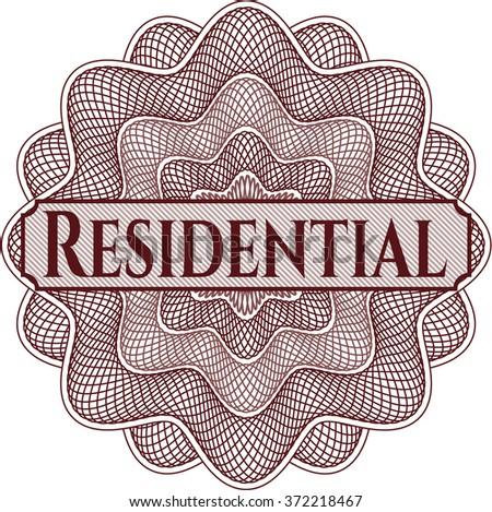 Residential written inside abstract linear rosette