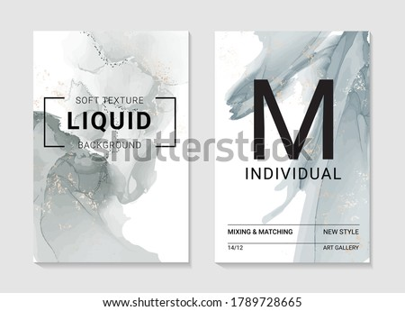 Resin art marble grey smoke ripples of agate. Liquid flow marble abstract texture. Fluid modern art  for websires, posters, design covers, brochures, presentation, invitation, in vector.