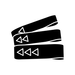 Resistance bands black glyph icon. Home gym equipment for fitness exercise silhouette symbol on white space. Sport gear for resistance training. Sportive elastic bands vector isolated illustration
