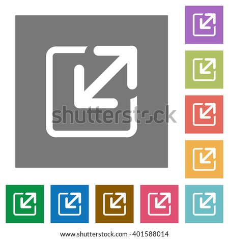 Resize element flat icon set on color square background.
