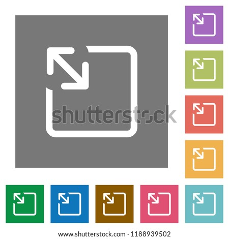 Resize object flat icons on simple color square backgrounds