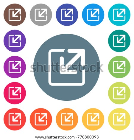 Resize window flat white icons on round color backgrounds. 17 background color variations are included.