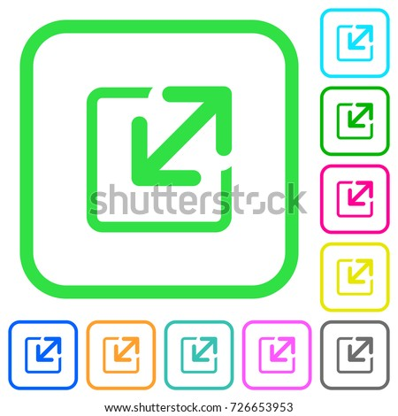 Resize window vivid colored flat icons in curved borders on white background