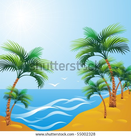 Resort. Beach with palm trees on the beach. Vector illustration.