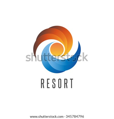 resort logo  summer ocean beach