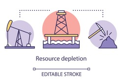Resource depletion concept icon. Mining for fossil fuels and minerals. Energy carriers. Oil rig, coal mine idea thin line illustration. Vector isolated outline drawing. Editable stroke