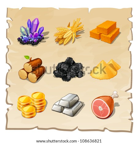 resource icons for games - stock vector