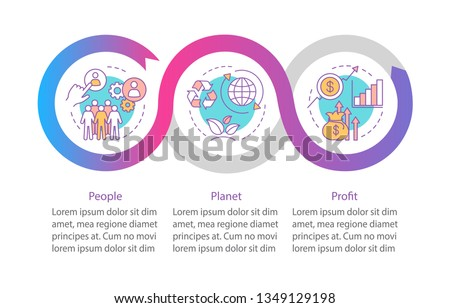Resource management vector infographic template. Triple bottom line. TBL. Business presentation design elements. Data visualization with steps and options. Process timeline chart. Workflow layout