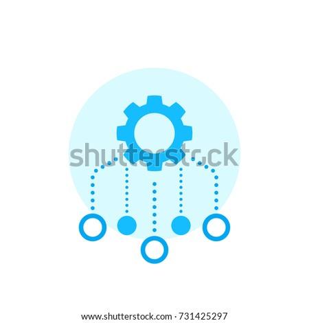 Resources allocation icon on white