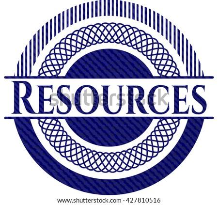 Resources emblem with denim texture