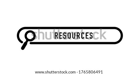 Resources written in search bar on white background. Stock vector Foto stock ©