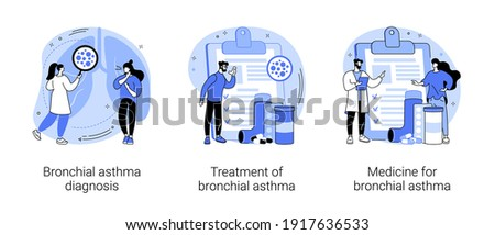 Respiratory illness abstract concept vector illustration set. Bronchial asthma diagnosis, treatment and medicine, shortness of breath, breathing attack, allergy cough, healthcare abstract metaphor.