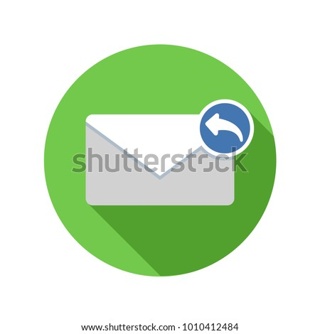 Responding email icon. Reply mail icon. Email icon with long shadow. Email, reply, mail, messenger, communication, conversation, correspondence, design, dialogue, discourse, discussion