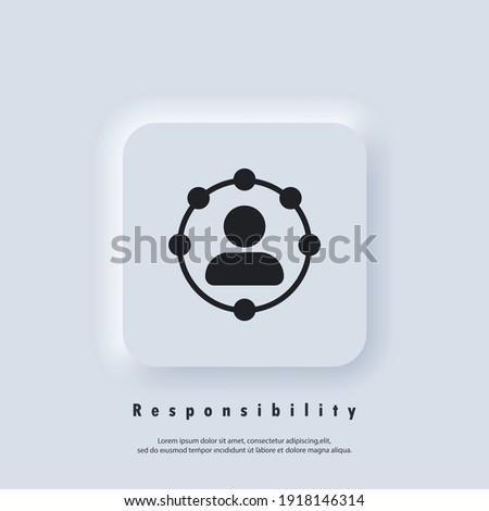 Responsibility icon. Professional roles icon. Functions, responsibilities and duties of professional member idea. Employer, employee. Circle, worker. Vector EPS 10. UI icon. Neumorphic UI UX