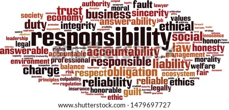 Responsibility word cloud concept. Collage made of words about responsibility. Vector illustration  Foto d'archivio ©