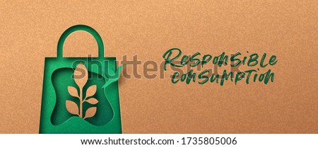 Responsible consumption papercut banner with green shopping bag icon, bird and plant leaf. Eco-friendly business, 3d cutout concept in recycled paper for environmentally conscious buying.
