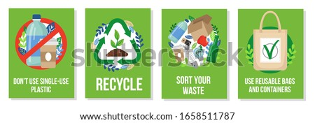 Responsible consumption posters collection vector illustration. Dont use single-use plastic recycle sort your waste and reusable bags and containers flat style. Eco concept Foto stock ©