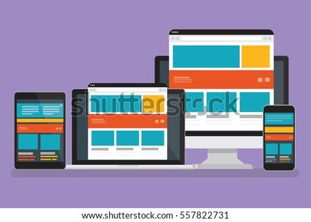 Responsive concept,computer design,clean vector