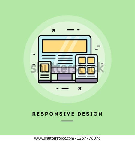Responsive design, flat design thin line banner, usage for e-mail newsletters, web banners, headers, blog posts, print and more. Vector illustration.
