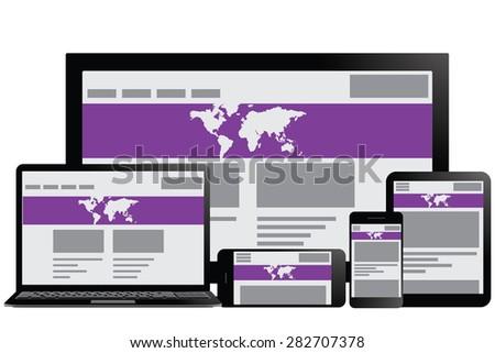 Responsive design for web- computer screen, smartphone, tablet icons set illustration