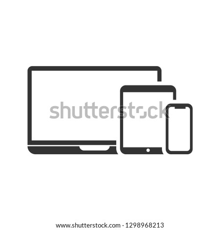 Responsive Design Laptop, Tablet and Smartphone Screen Flat Vector Icon for Apps and Websites - Vector