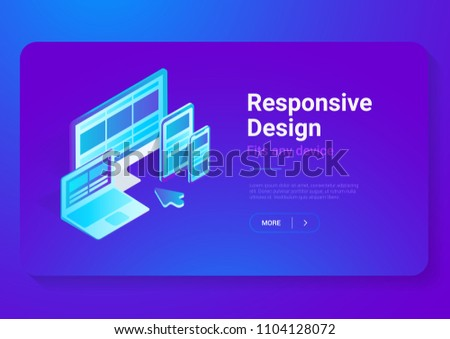 Responsive Design on Computer Laptop Tablet PC mobile phone smartphone isometric flat vector illustration. Webdesign studio concept.