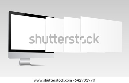 Responsive iMac screen mockup. Computer monitor with blank screen and blank framework web pages. Template for responsive web-design or showing screenshots. Vector illustration
