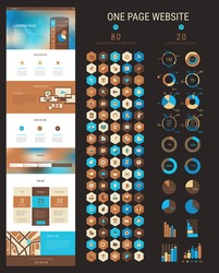 Responsive landing page or one page website template in flat design with modern blurred polygonal header background and 80 hexagonal icons and 20 infographics packs