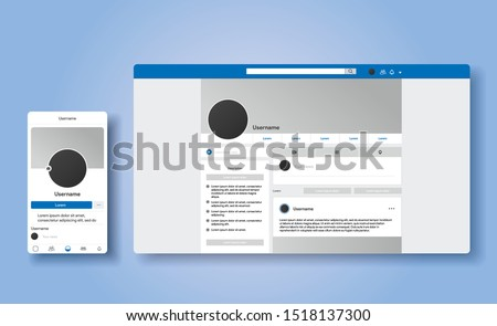 Responsive page of facebook profile. The same account in smartphone and desktop. UI UX social media template of website. Vector Illustration mock up.