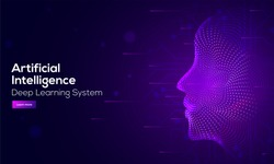 Responsive web banner design with illustration of human face made by tiny particles between glowing digital network for Artificial Intelligence (AI) deep learning concept.