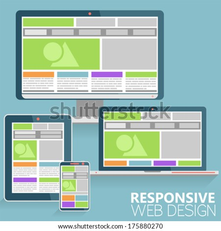 Responsive Web Design Concept on various devices in Modern Flat Style, vector